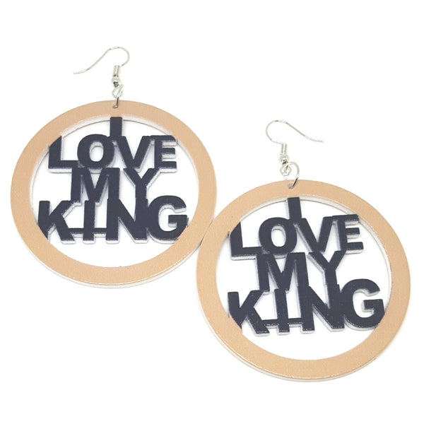 I LOVE MY KING Khaki Black Statement Dangle Wood Earrings