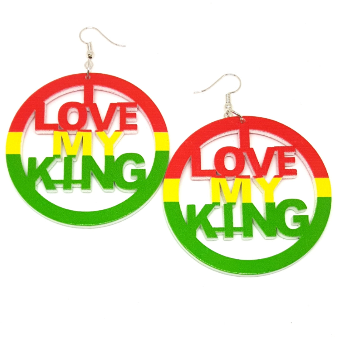 I LOVE MY KING Rasta Statement Dangle Wood Earrings