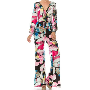 Janette Fashion Pink Watercolor Floral Long Bell Sleeve Jumpsuit