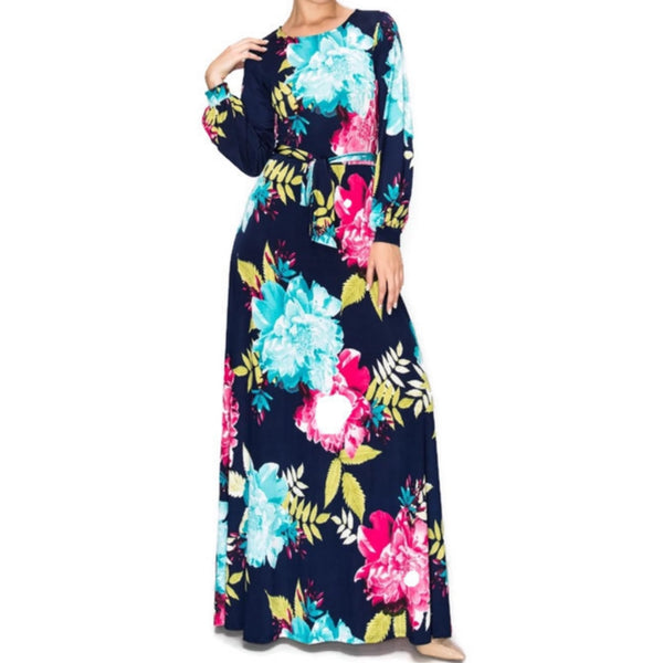 Janette Fashion Flower Bomb Long Bell Sleeve Maxi Evening Dress