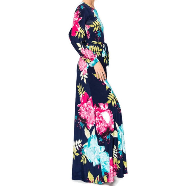 Flower Bomb Boat Neck Long Bell Sleeve Maxi Evening Dress