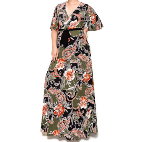 Olive Rust Hibiscus Floral Faux Wrap Plussize Maxi Dress