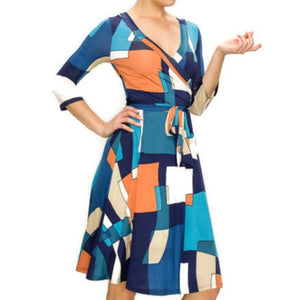 Janette Fashion Blue Peach Faux Wrap Knee Length 3/4 Sleeve Dress
