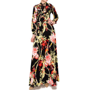 Red Floral Chain Ruffle Bow Tie Bell Long Sleeve Maxi Dress