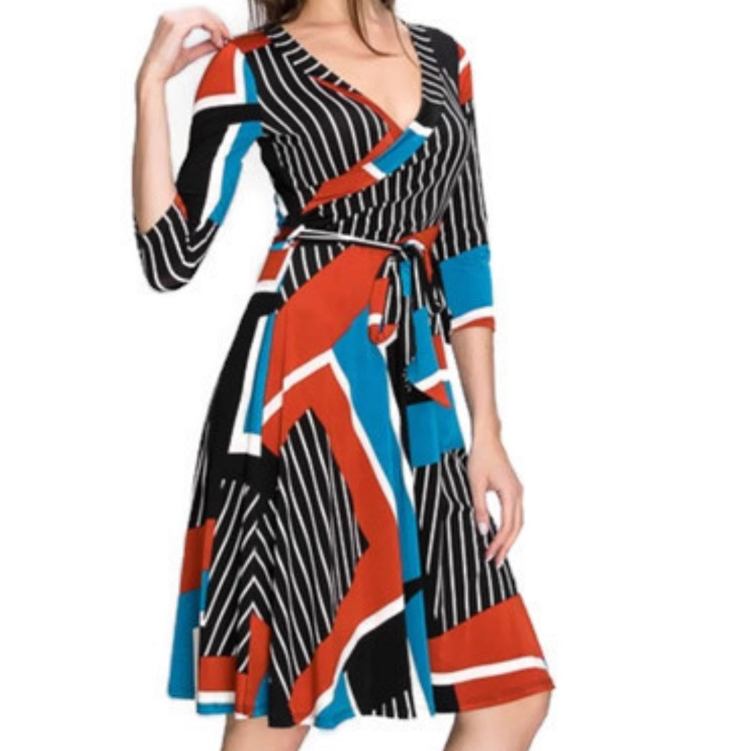 Janette Fashion Blue Rust Faux Wrap Knee Length 3/4 Sleeve Dress