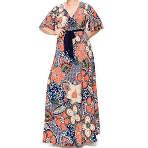Navy Orange Floral Faux Wrap Maxi Plussize Dress