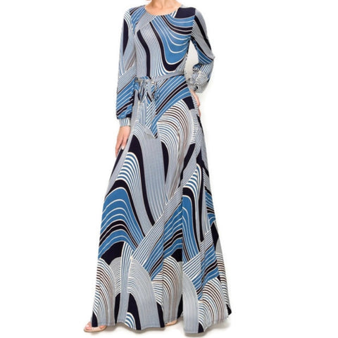 Janette Fashion Blue Bliss Swirl Long Sleeve Casual Maxi Dress