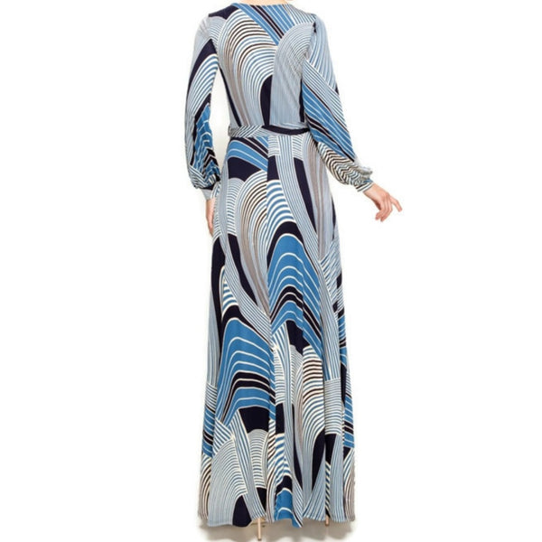 Blue Bliss Cream Swirl Long Sleeve Casual Maxi Dress