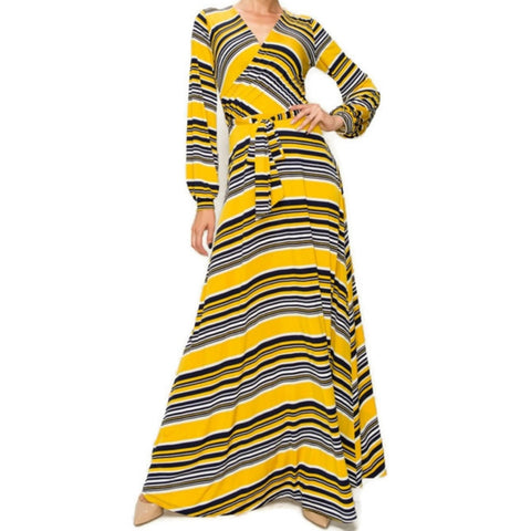 Yellow White Navy Stripe Faux Wrap Long Sleeve Maxi Dress