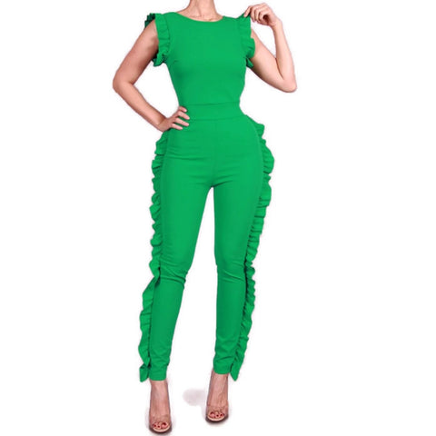 Summer Green Sexy Bodycon Casual Ruffle Jumpsuit