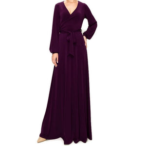 PLUM Long Bell Sleeve Casual Evening Maxi Dress