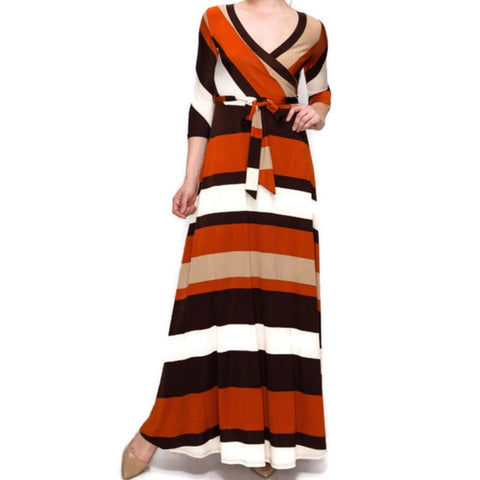 Rust Brown Bold Stripe Faux Wrap 3/4 Sleeve Maxi Dress