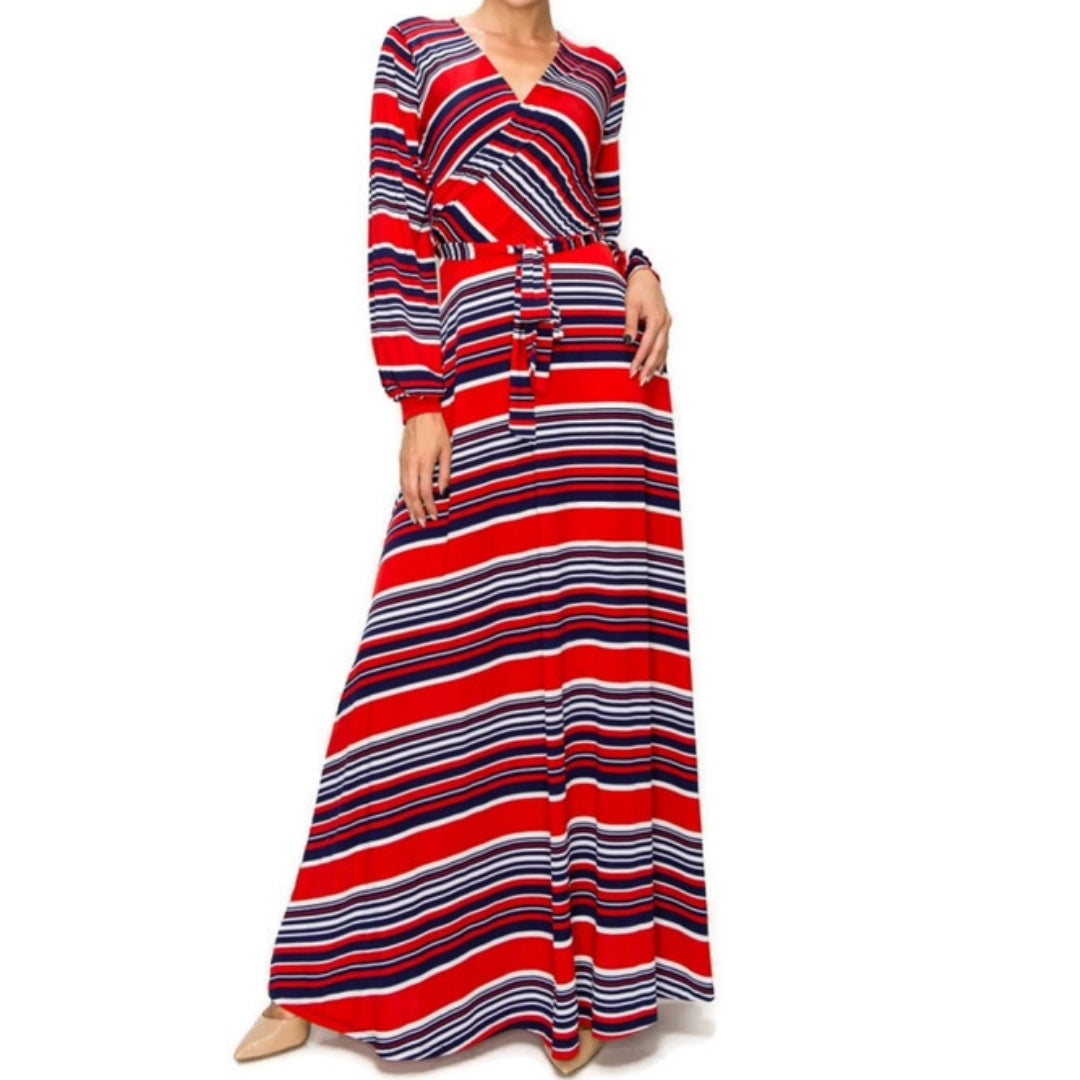 Janette Fashion Red White Navy Stripe Faux Wrap Long Sleeve Maxi Dress