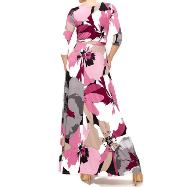 Janette Fashion Purple Gray Floral Faux Wrap 3/4 Sleeve Maxi Dress