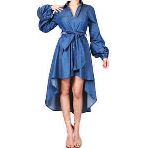 Blue Denim Hi Low Bell Long Sleeve Shirt Dress