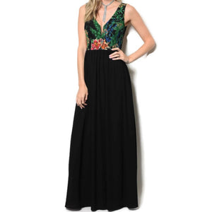 Floral Green Fuchsia Lace Sleeveless Wedding Cocktail Evening Black Dress