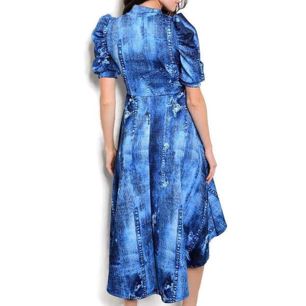 Denim Pattern Bow Tie Puff Sleeve High Lo Hem Causal Party Dress