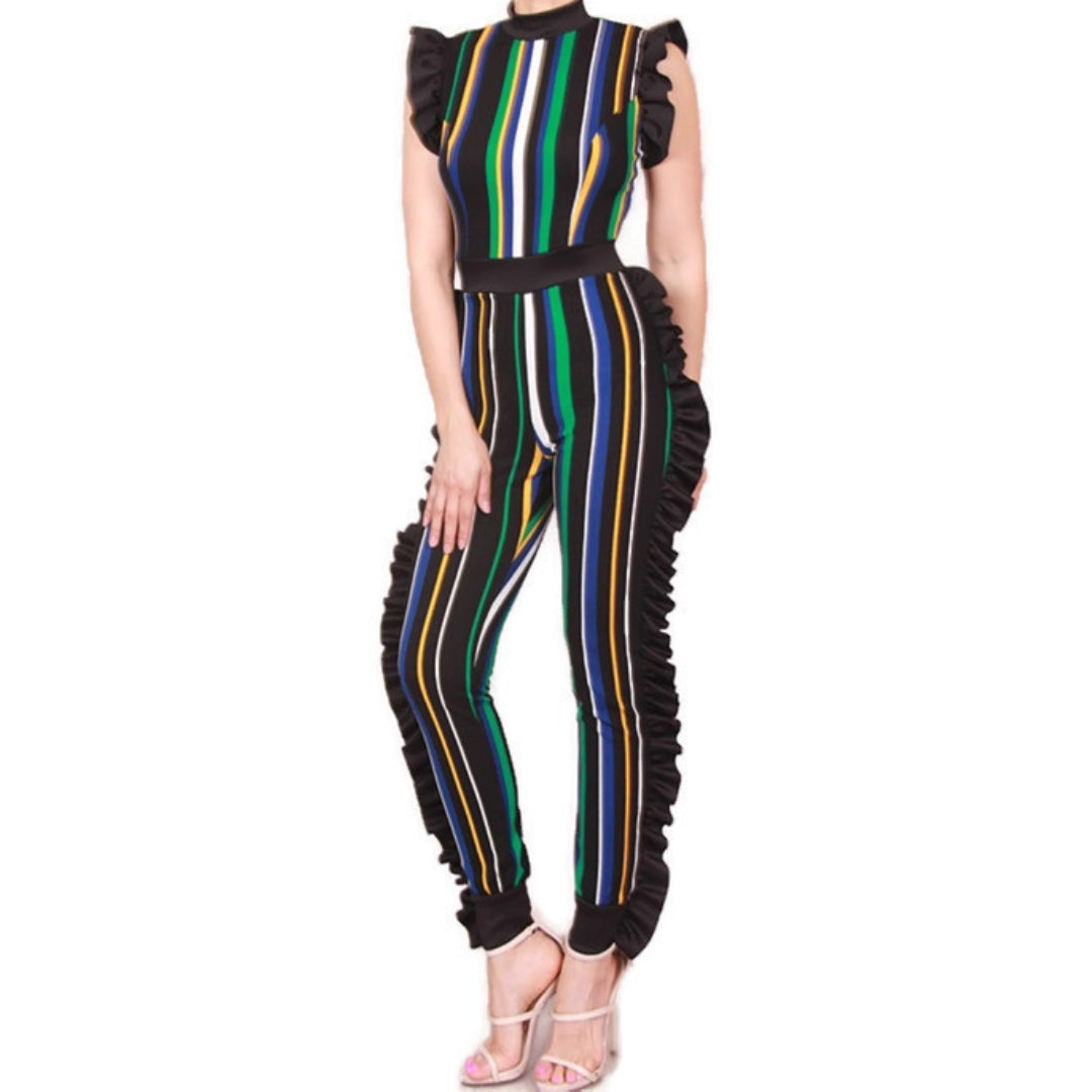 Teal Blue Stripe Multi Color Sexy Bodycon Casual Ruffle Jumpsuit
