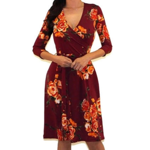 Got Style Burgundy Floral Faux Wrap Casual Party Midi Dress