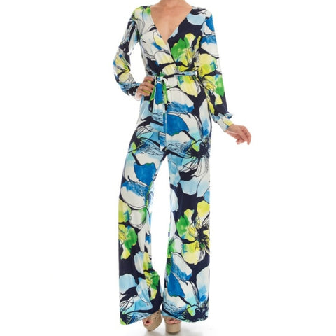 Janette Fashion Blue Watercolor Floral Long Bell Sleeve Jumpsuit