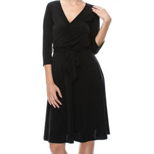Black Faux Wrap Knee Length 3/4 Sleeve Fit Flare Dress