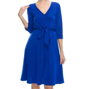 Janette Fashion Royal Blue Faux Wrap Knee Length 3/4 Sleeve Dress