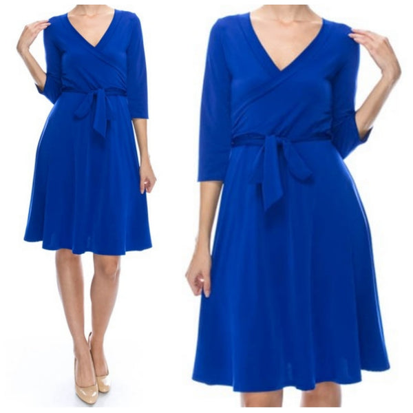 Royal Blue Solid Faux Wrap Knee Length 3/4 Sleeve Dress