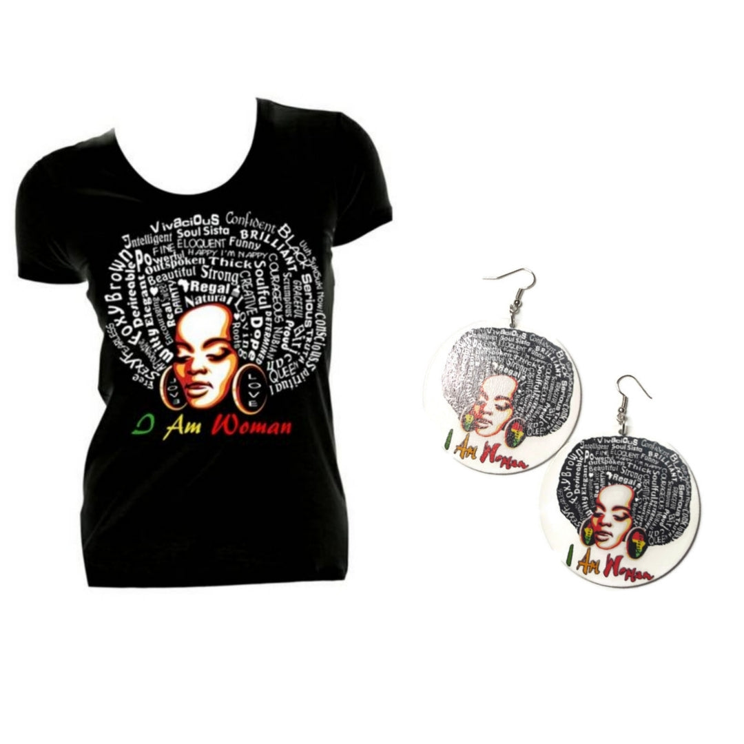 I Am Woman Earrings and Tshirt Set