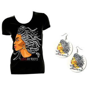 I Love My Roots Earrings and Tshirt Set