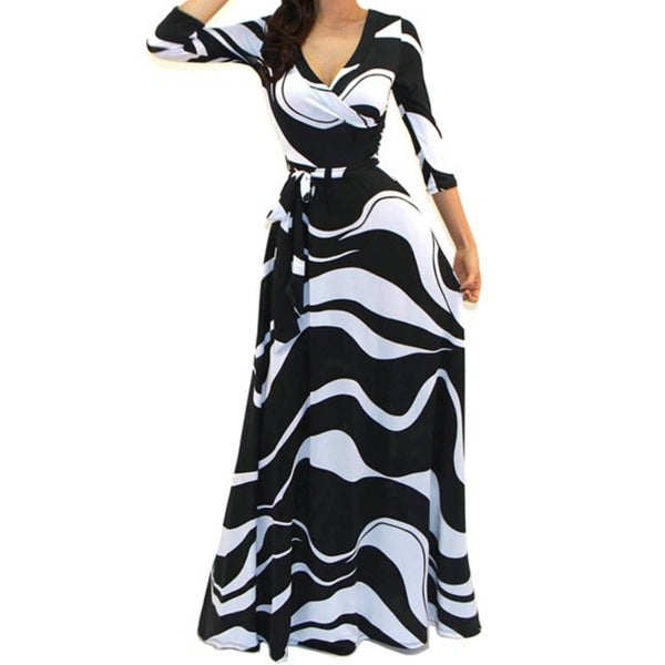 Got Style Black White Waves Faux Wrap Evening Casual Party Maxi Dress