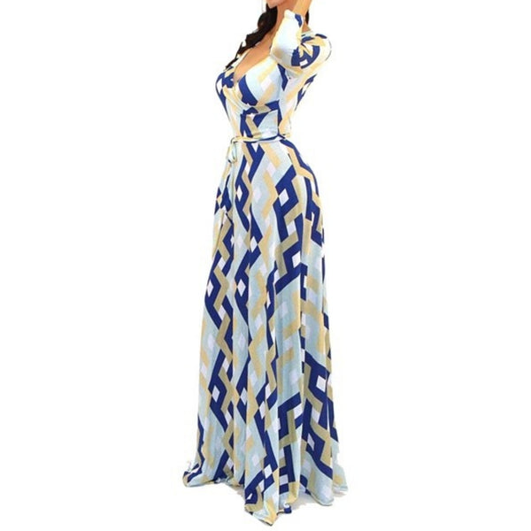 Got Style Blue Gray Links Pattern Faux Wrap Evening Casual Party Maxi Dress