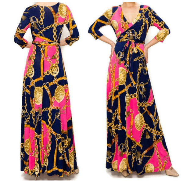 Pink Gold Chain Buckle Tassel Faux Wrap Maxi Dress