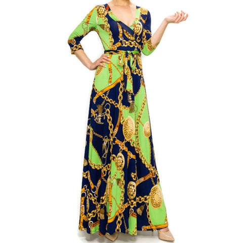 Janette Fashion Lime Gold Chain Buckle Tassel Faux Wrap Maxi Dress