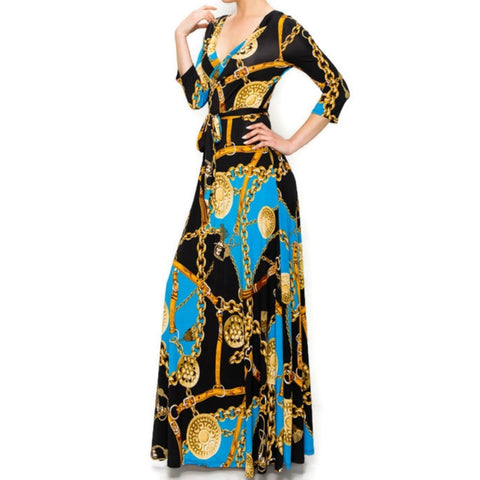 Janette Fashion Blue Gold Chain Buckle Tassel Faux Wrap Maxi Dress