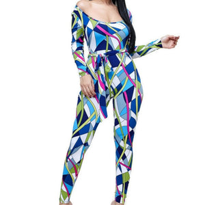 Kaleidoscope Blue White Long Sleeve Bodycon Casual Jumpsuit