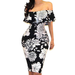 Black White Floral Off Shoulder Bodycon Party Cocktail Dress
