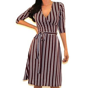 Got Style Burgundy White Stripe Faux Wrap Midi Dress