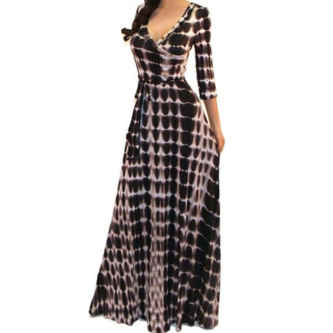 Got Style Brown White Tie Dye Faux Wrap Evening Casual Party Maxi Dress