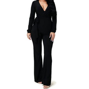 MM Plussize Black Long Sleeve Bell Bottom Tie Waist Jumpsuit