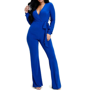 MM Royal Blue Long Sleeve Bell Bottom Tie Waist Jumpsuit