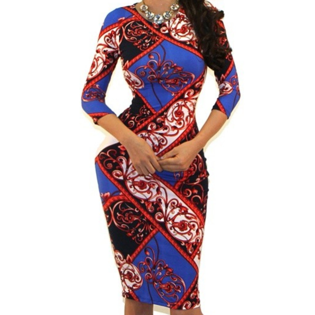 GS Blue Red Swirl Pattern Bodycon Party Cocktail Dress