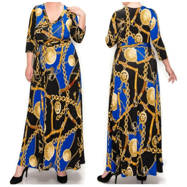 Janette Fashion Royal Blue Gold Chain Buckle Tassel Faux Wrap Maxi Dress