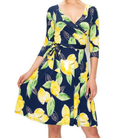 Navy Yellow Lemon Faux Wrap Knee Length Dress