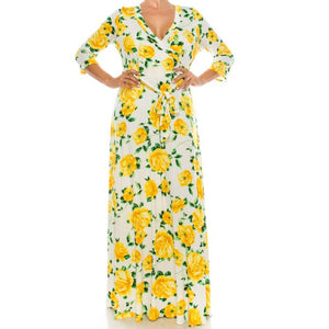 Janette Fashion Plus Ivory Yellow Floral Faux Wrap Maxi Dress