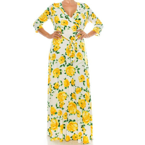 Ivory Yellow Floral Faux Wrap Plussize Maxi Dress