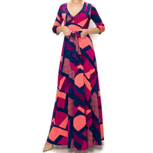 Janette Fashion Fuchsia Maze Faux Wrap Maxi Dress
