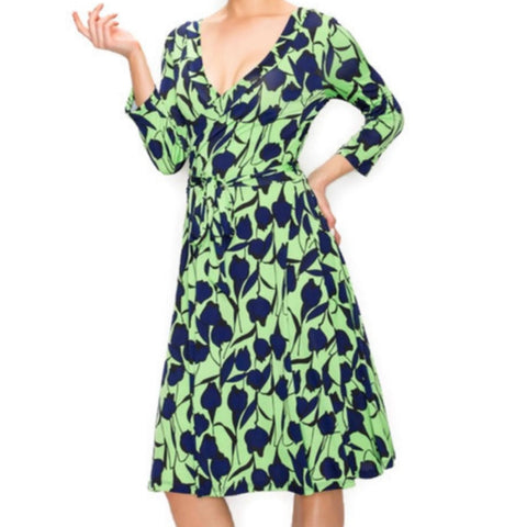 Lime Navy Leaves Faux Wrap Knee Length Dress