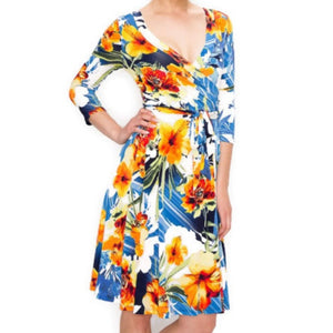 Janette Fashion Hibiscus Faux Wrap Knee Length Dress