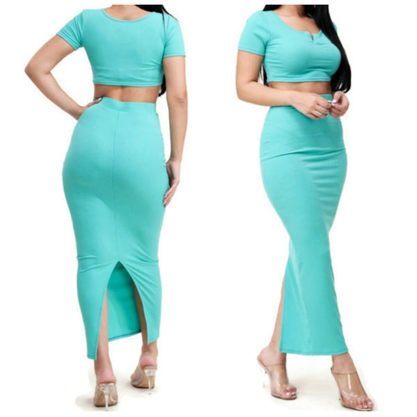 KN Solid Ribbed Knit Crop Top Maxi Skirt 2 Piece Set