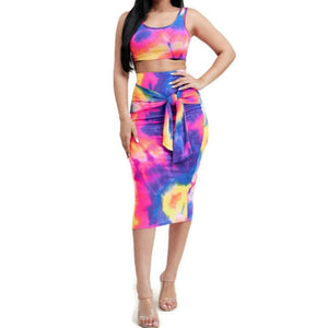 KN Neon Tie Dye Fuchsia Crop Tank Top Midi Skirt 2 Piece Set